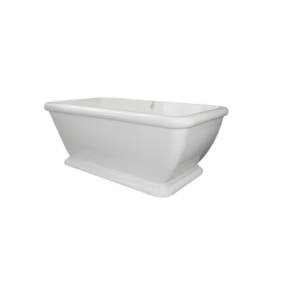 Rockwell 70 in. Acrylic Flatbottom Whirlpool Air Bath Bathtub in White