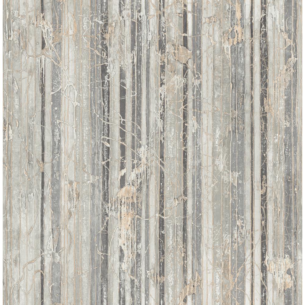Whitney Gold and Gray Splatter Striped Wallpaper