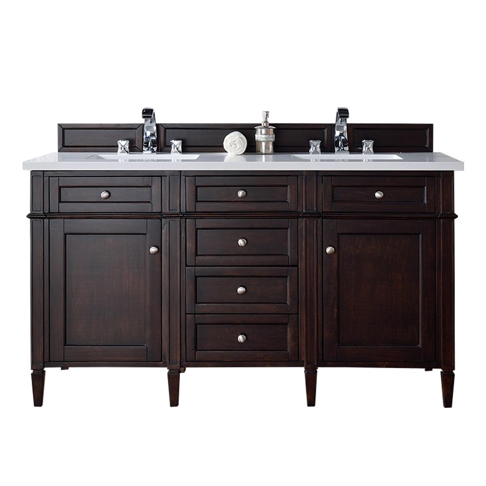 Brittany 60 In W Double Vanity Burnished Mahogany With Quartz Top White Basin