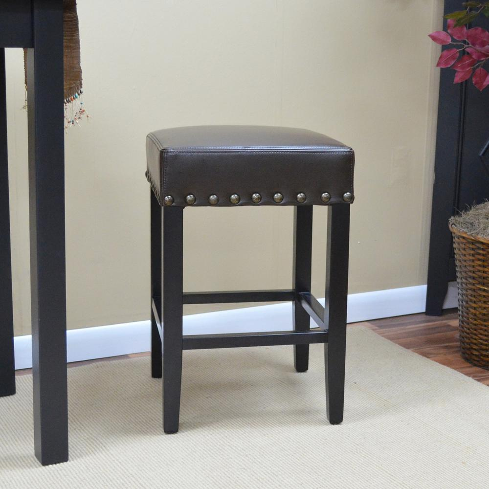 Romero 25 in. Antique Black Cushioned Bar Stool