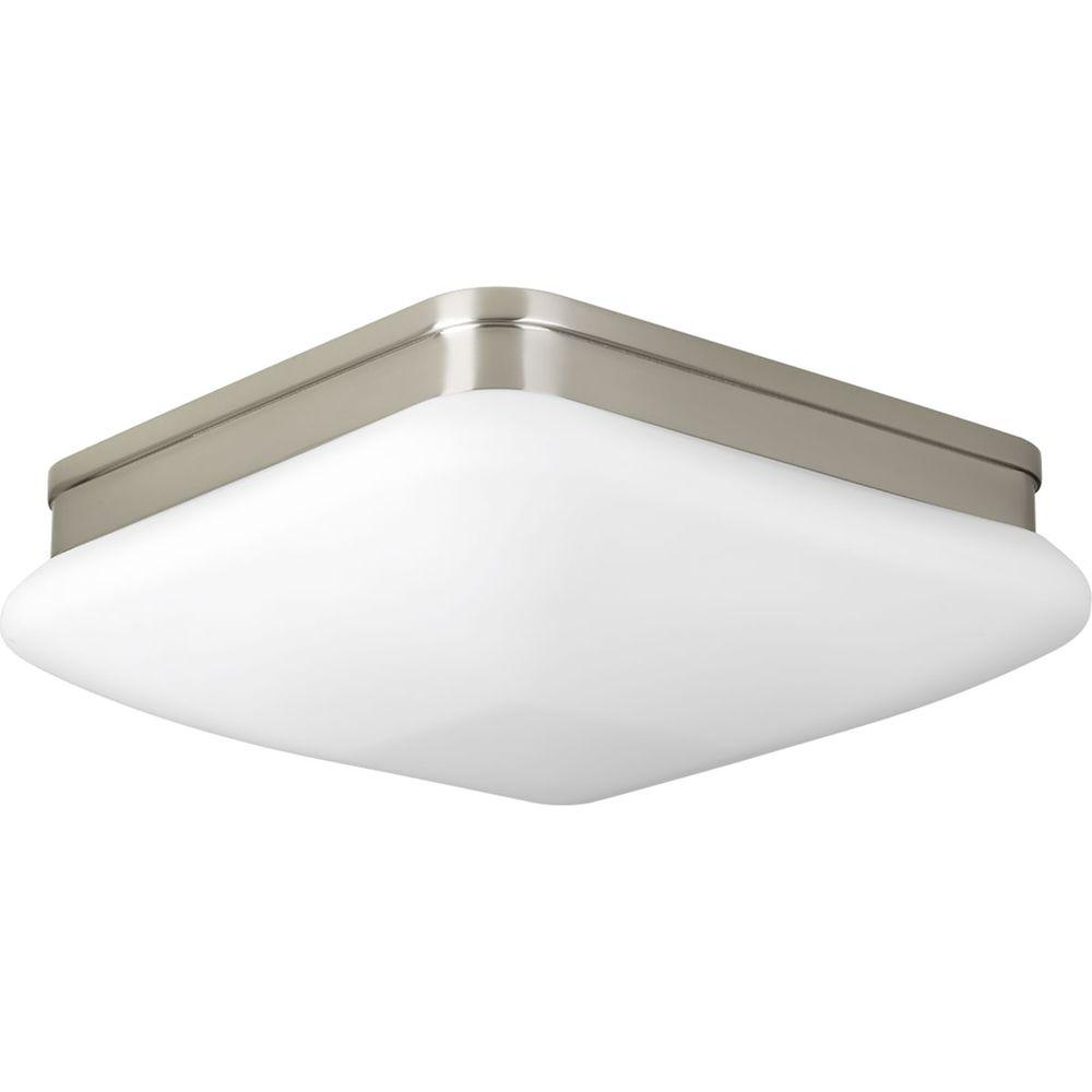 Progress Lighting Eal Collection 11 In 2 Light Brushed Nickel Flushmount With Opal Etched