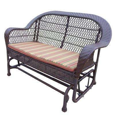 Coventry Coffee Wicker Outdoor Glider with Stripe Cushion