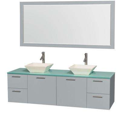 Amare 72 in. W x 22.25 in. D Vanity in Dove Gray with Glass Vanity Top in Green with Bone Basins and 70 in. Mirror