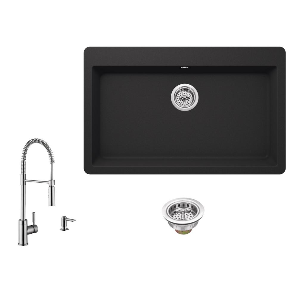 All-in-One Drop-In Quartz Composite 33 in. Single Bowl 3-Hole Kitchen Sink  in Black with Faucet in Brushed Nickel