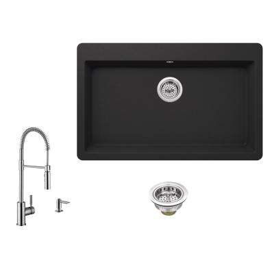 All-in-One Drop-In Granite Composite 33 in. Single Bowl 3-Hole Kitchen Sink in Black with Faucet in Brushed Nickel