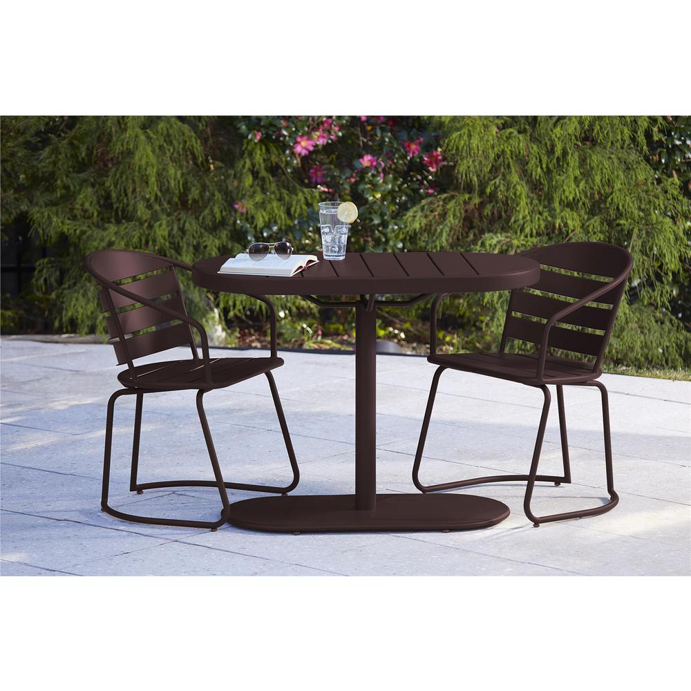 cosco metro brown 3 piece steel patio bistro set 87800sbde the home depot. Black Bedroom Furniture Sets. Home Design Ideas