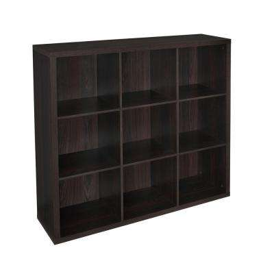 44 in. W x 44 in. H Decorative Black Walnut 9-Cube Organizer