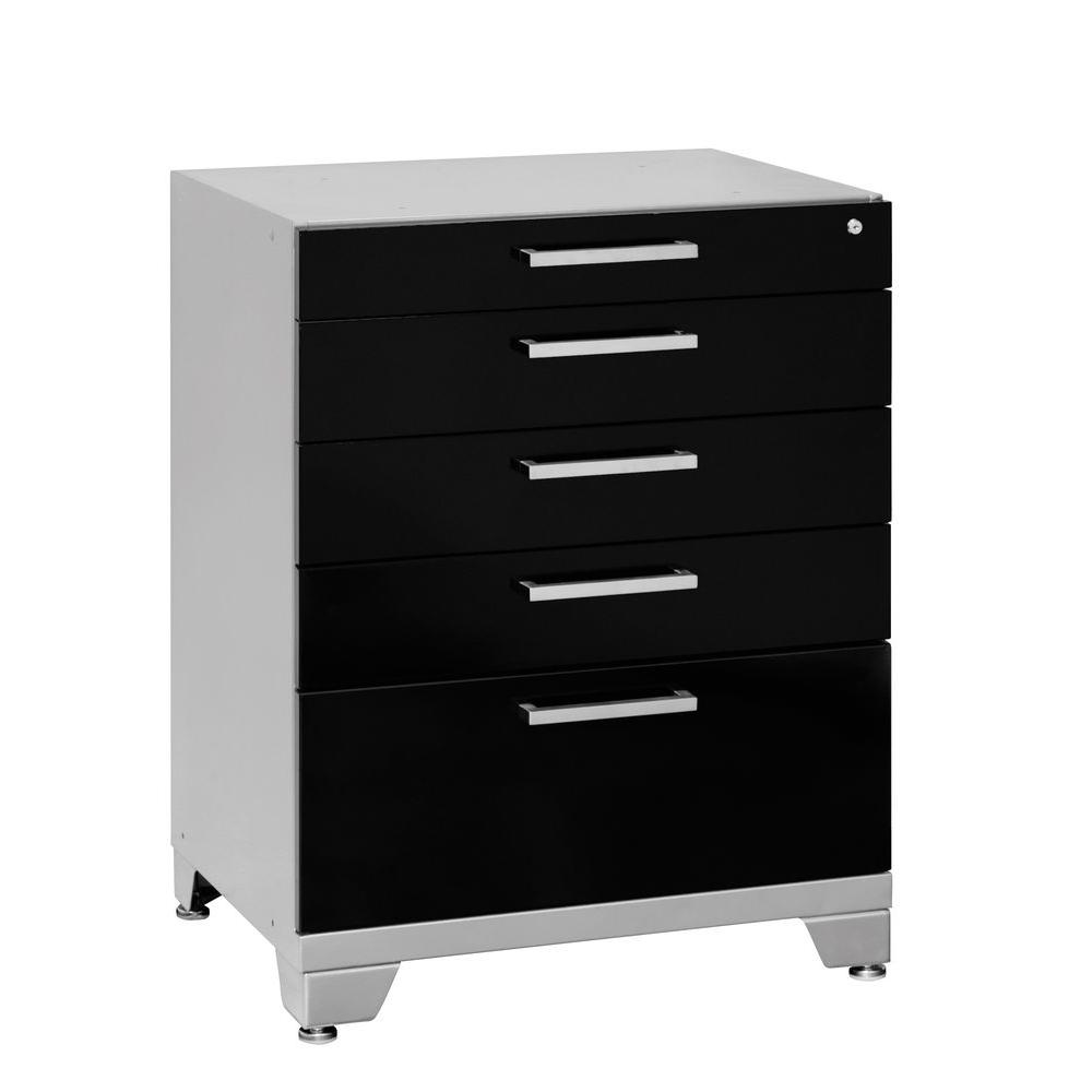 NewAge Products Performance Plus 35 in. H x 28 in. W x 24 in. D 5-Drawer Steel Garage Cabinet for Tools in Black