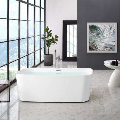 Concorde 67 in. Acrylic Flat Bottom Non-Whirlpool Freestanding Rectangular Soaking Bathtub in White