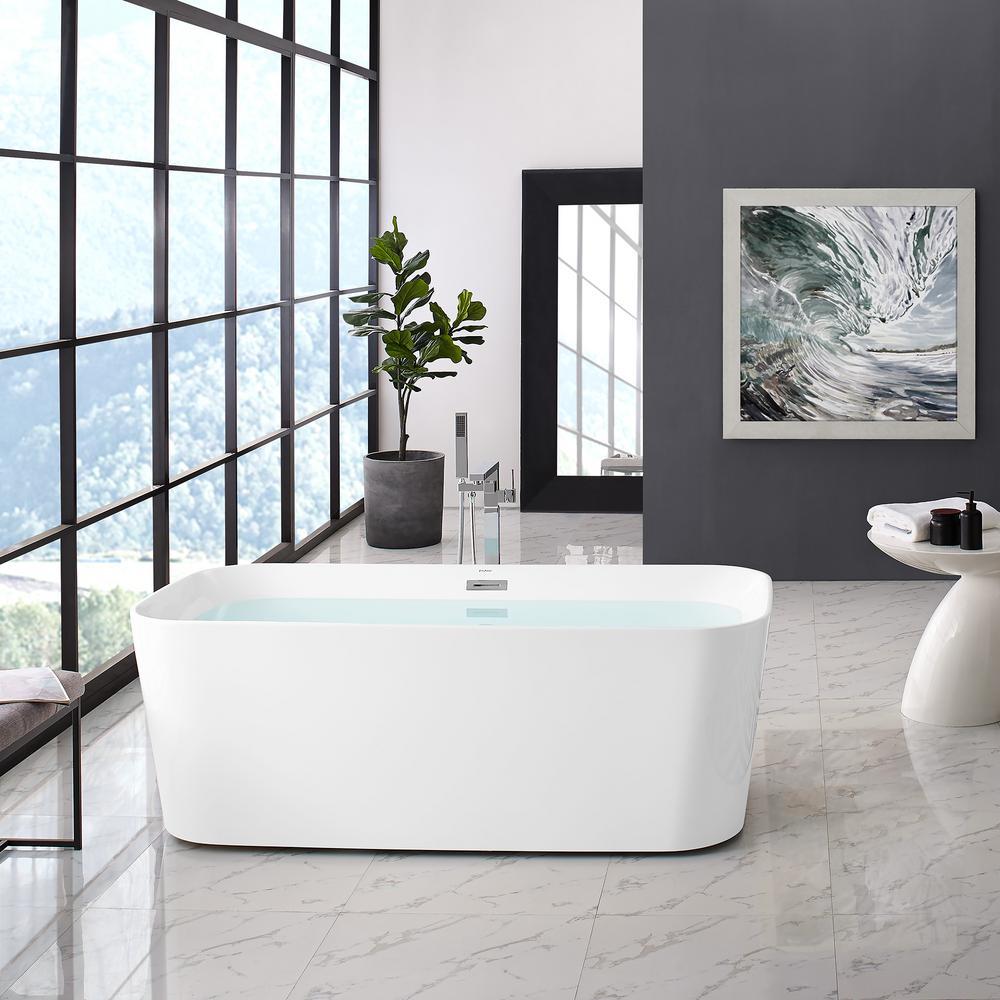 Concorde 67 in. Acrylic Flat Bottom Non-Whirlpool Freestanding Rectangular Soaking Bathtub in White