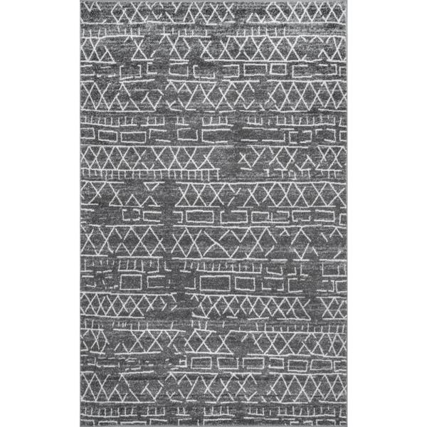 Bexley Distressed Banded Tribal Gray 7 ft. x 9 ft. Area Rug