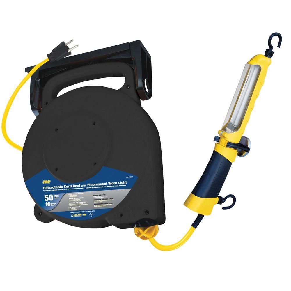 50 ft. 16/3 SJT 13-Watt Fluorescent Mountable Retractable Cord Reel - Yellow and Black