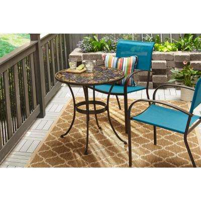 Mix and Match Brown Stackable Sling Outdoor Dining Chair in Emerald Coast (2-Pack)
