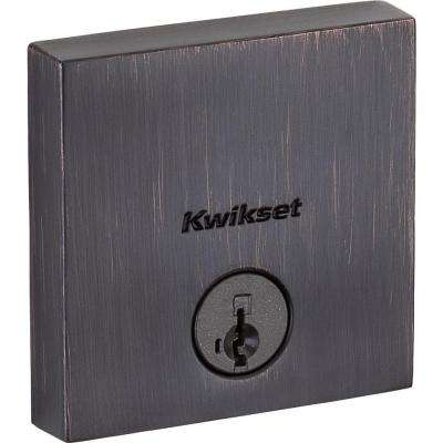 Downtown Venetian Bronze Single Cylinder Deadbolt featuring SmartKey Security with Microban Antimicrobial Technology