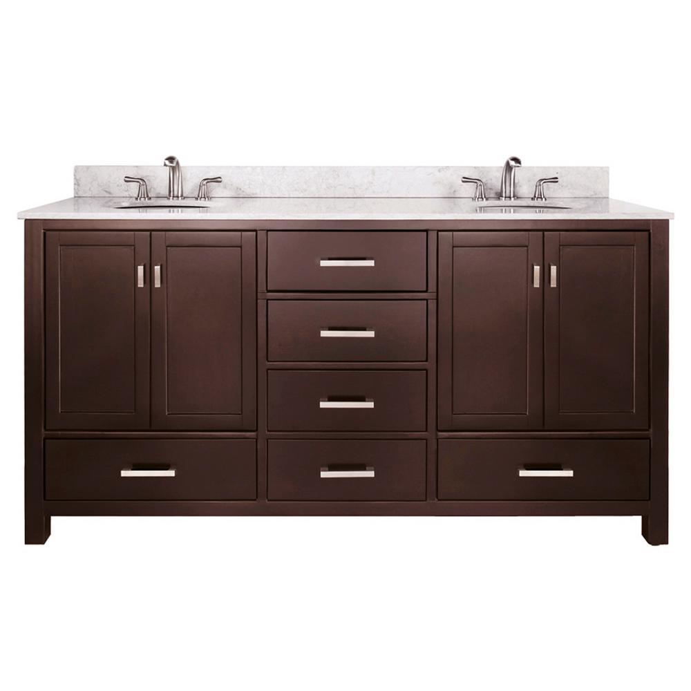 Double Vanity Grey Oak Marble Vanity Top White Under Mount Sink Picture 388
