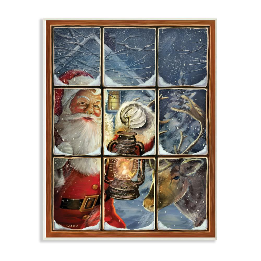 Reviews For Stupell Industries 10 In X 15 In Holiday Santa Claus In The Windowpane With Lantern Painting By Artist A V Art Wood Wall Art Hwp 233 Wd 10x15 The Home Depot
