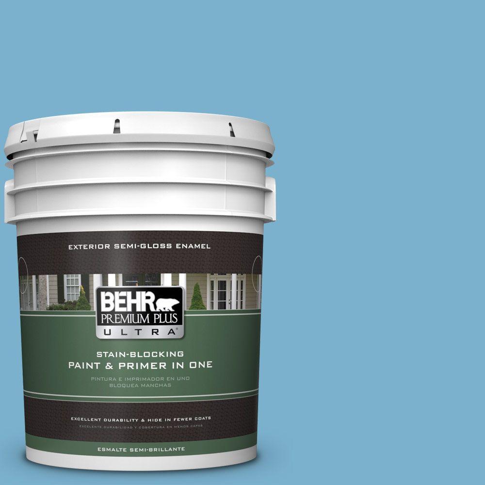 BEHR Premium Plus Ultra 5-gal. #M490-4 Frisky Blue Semi-G...