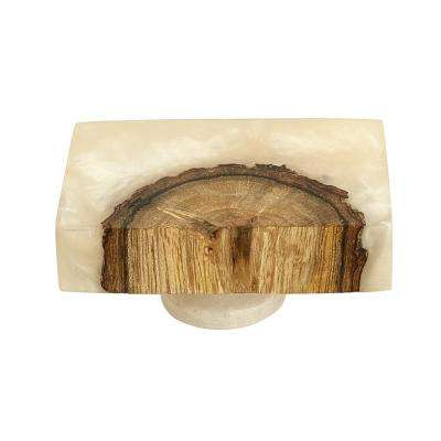 Frosted Timber 2 in. (50 mm x 30 mm) White Resin Cabinet Knob