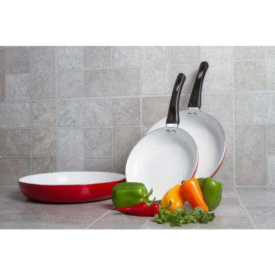 8 in., 10 in. and 12 in. Ceramic Nonstick Red Frying Pan with Bakelite Handle 3-Piece Set