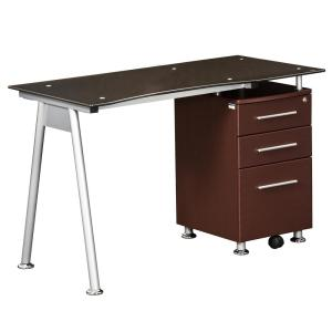 Chocolate Stylish Brown Tempered Glass Top Computer Desk with Storage