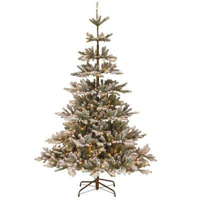 7.5 ft. PowerConnect Snowy Imperial Blue Spruce Artificial Christmas Tree with Clear Lights