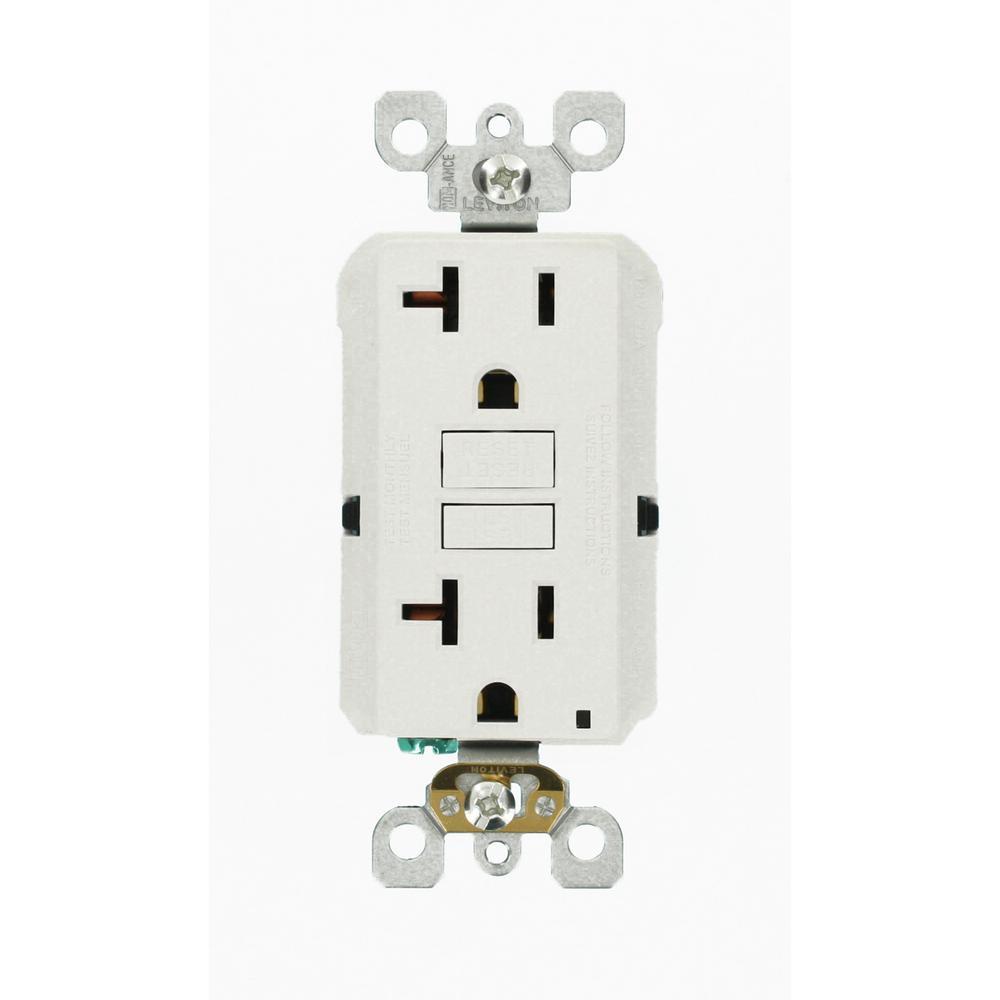 Leviton 20 amp 125 volt duplex self test slim gfci outlet for Bathroom 20 amp circuit