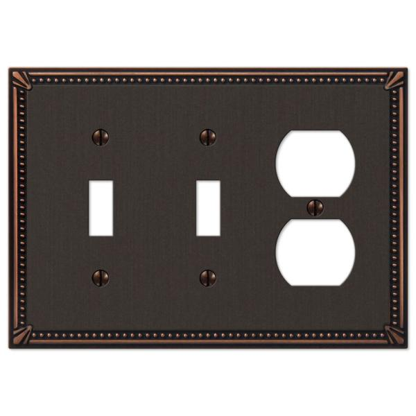Imperial Bead 3 Gang 2-Toggle and 1-Duplex Metal Wall Plate - Aged Bronze