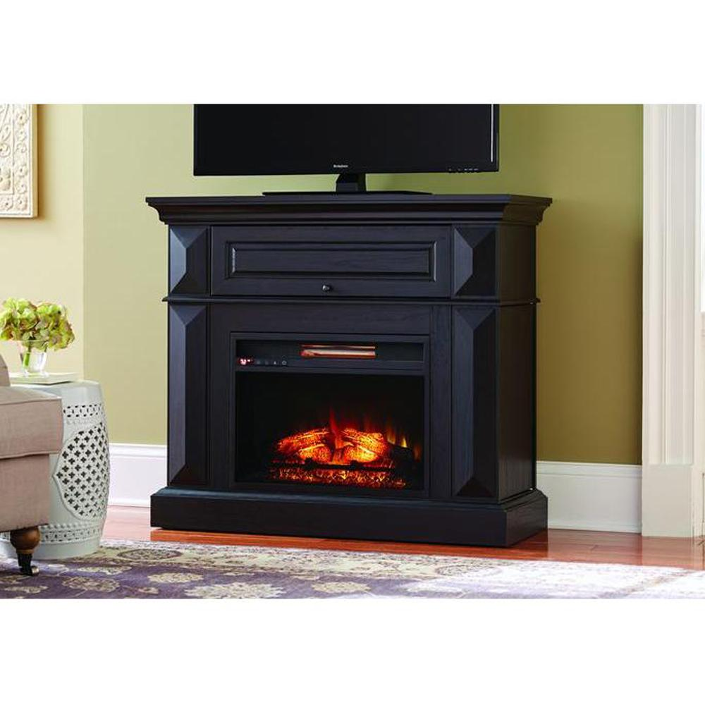 Black Mantel Console Infrared Electric Fireplace Room