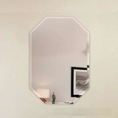 20 in. x 30 in. Octagon Frameless Wall Mirror Bevel Polish with 3-Hooks