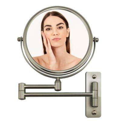 Wall Mount Mirror, 1X and 7X Magnification, 7 Inch, Nickel Brushed (MNLFW70BR1X7X)