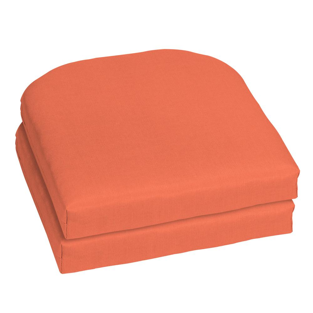Home Decorators Collection 18 X Sunbrella Canvas Melon Outdoor Chair Cushion 2 Pack