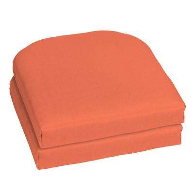 Sunbrella Canvas Melon Contoured Outdoor Seat Cushion (2 Pack)