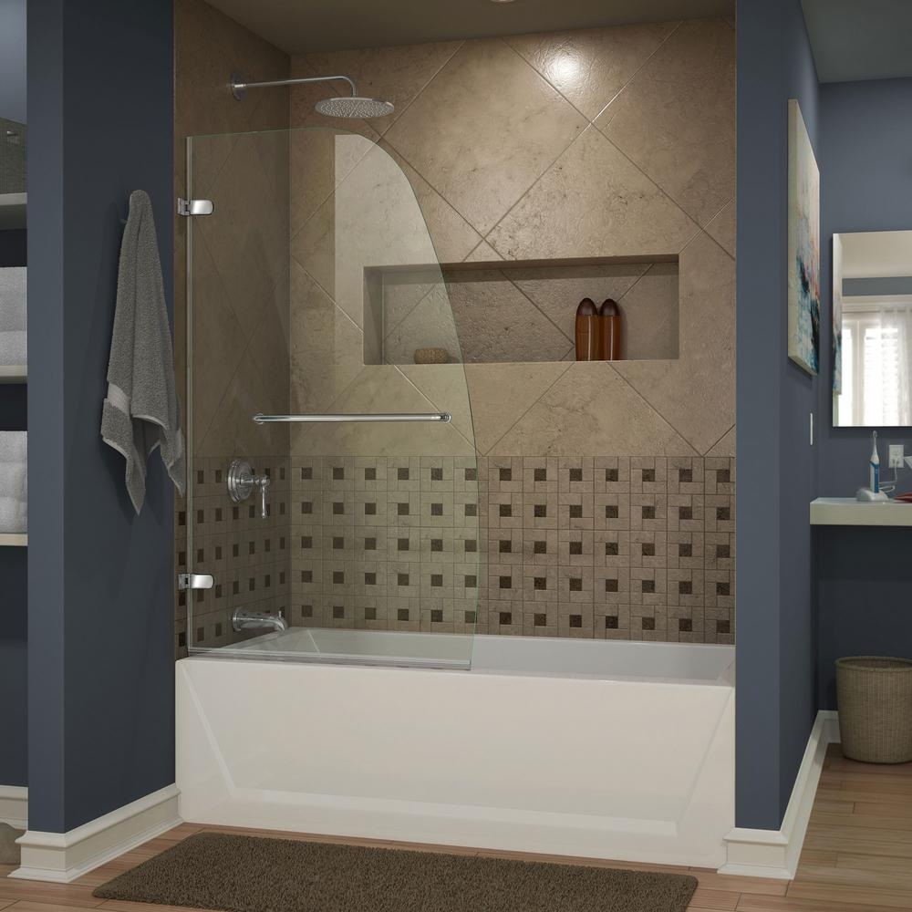 Dreamline Aqua Uno 34 In X 58 In Frameless Hinged Tub
