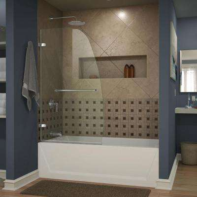Aqua Uno 34 in. x 58 in. Frameless Hinged Tub Door in Chrome with Handle