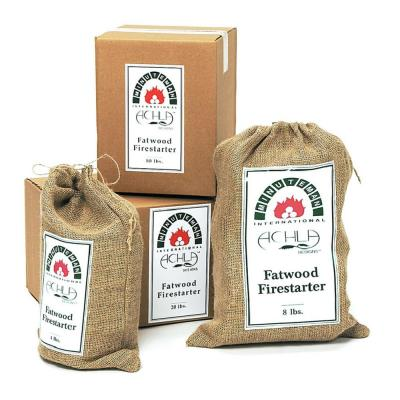 Fire Starting Fatwood Sticks in Printed Burlap Bag 8 lbs. Natural Fatwood