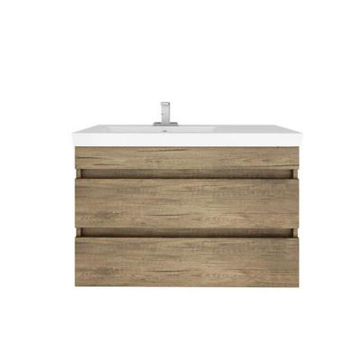 Elena 32 in. Floating Vanity in Natural with White Melamine Basin