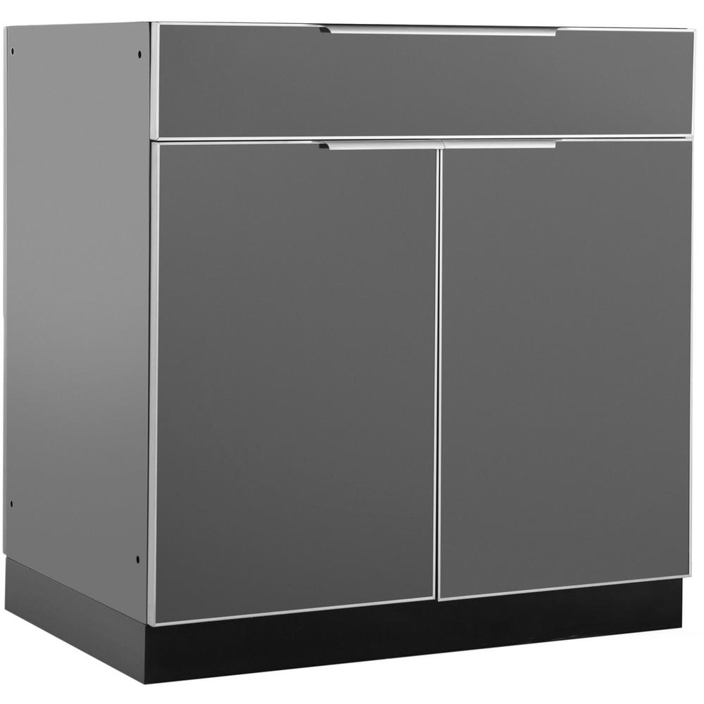 NewAge Products Aluminum Slate 32 In. Bar 32x33.5x23 In. Outdoor Kitchen  Cabinet 65203   The Home Depot