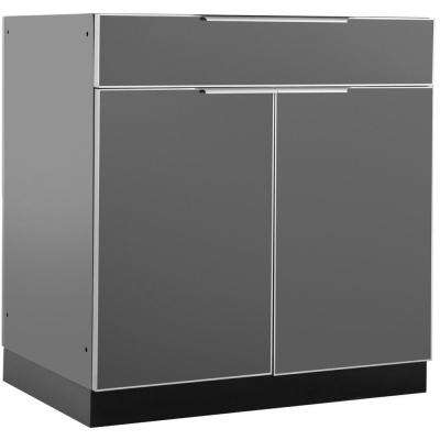 Aluminum Slate 32 in. Bar 32x33.5x23 in. Outdoor Kitchen Cabinet