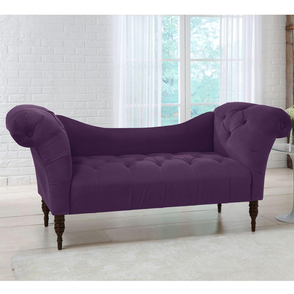 Savannah Aubergine Velvet Tufted Chaise Lounge