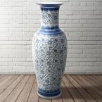 Oriental Furniture 36 in. Floral Blue and White Porcelain Tung Chi Vase
