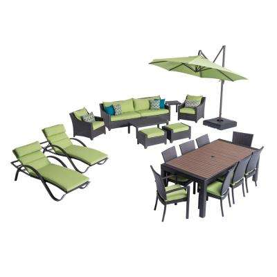Deco Estate Wicker 20-Piece Patio Conversation Set with Sunbrella Ginkgo Green Cushions
