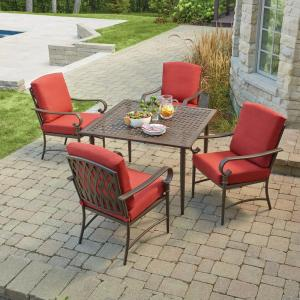 Hampton Bay Oak Cliff 5 Piece Metal Outdoor Dining Set With Chili Cushions 176 411 5d The Home