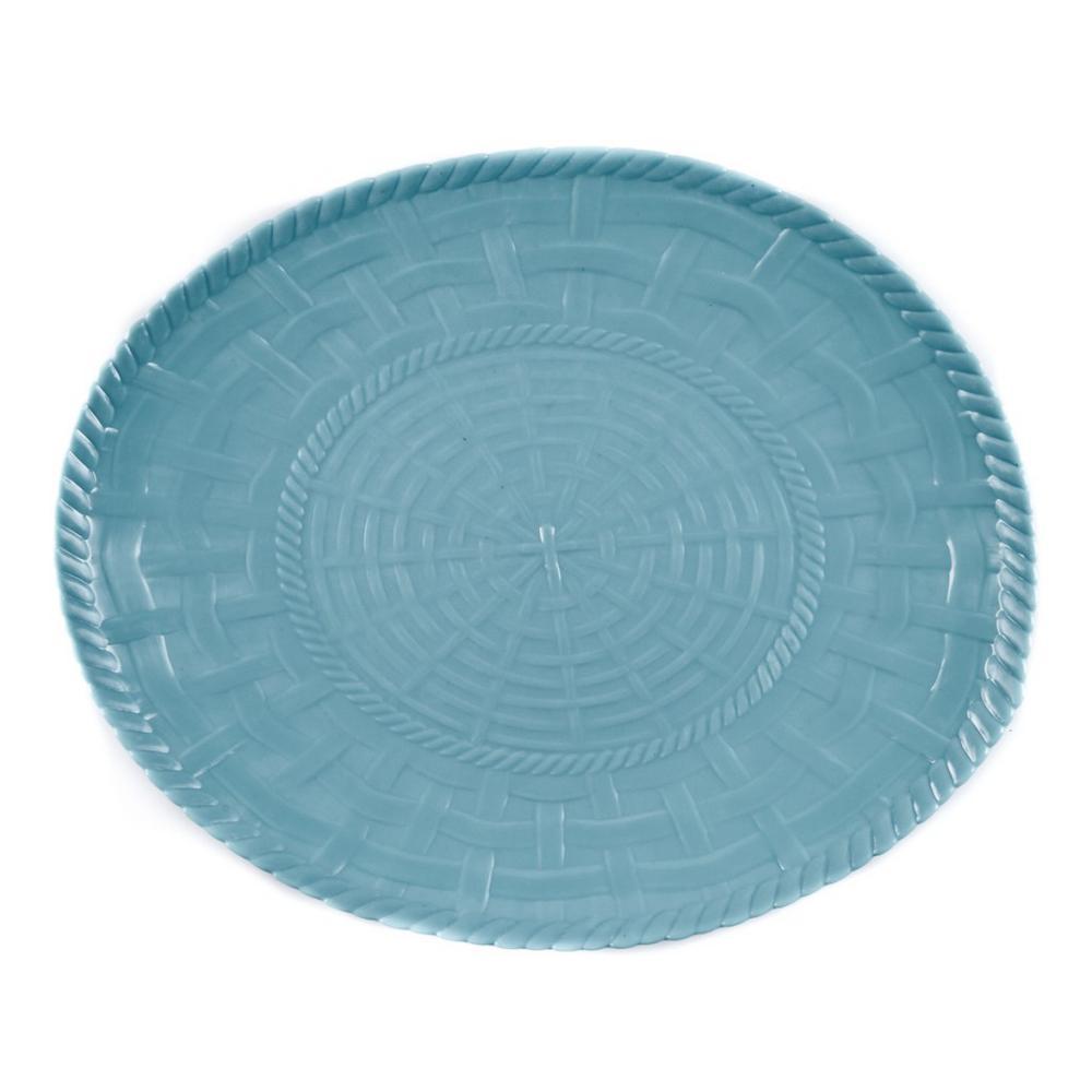 Woven Turquoise Melamine Oval Platter