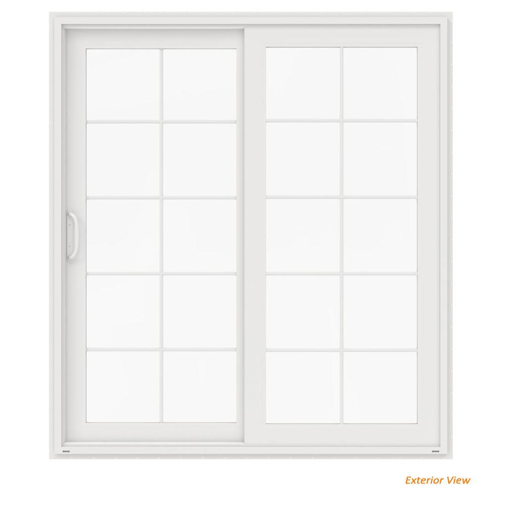 72 in. x 80 in. V-4500 White Vinyl Left-Hand 10 Lite Sliding Patio Door