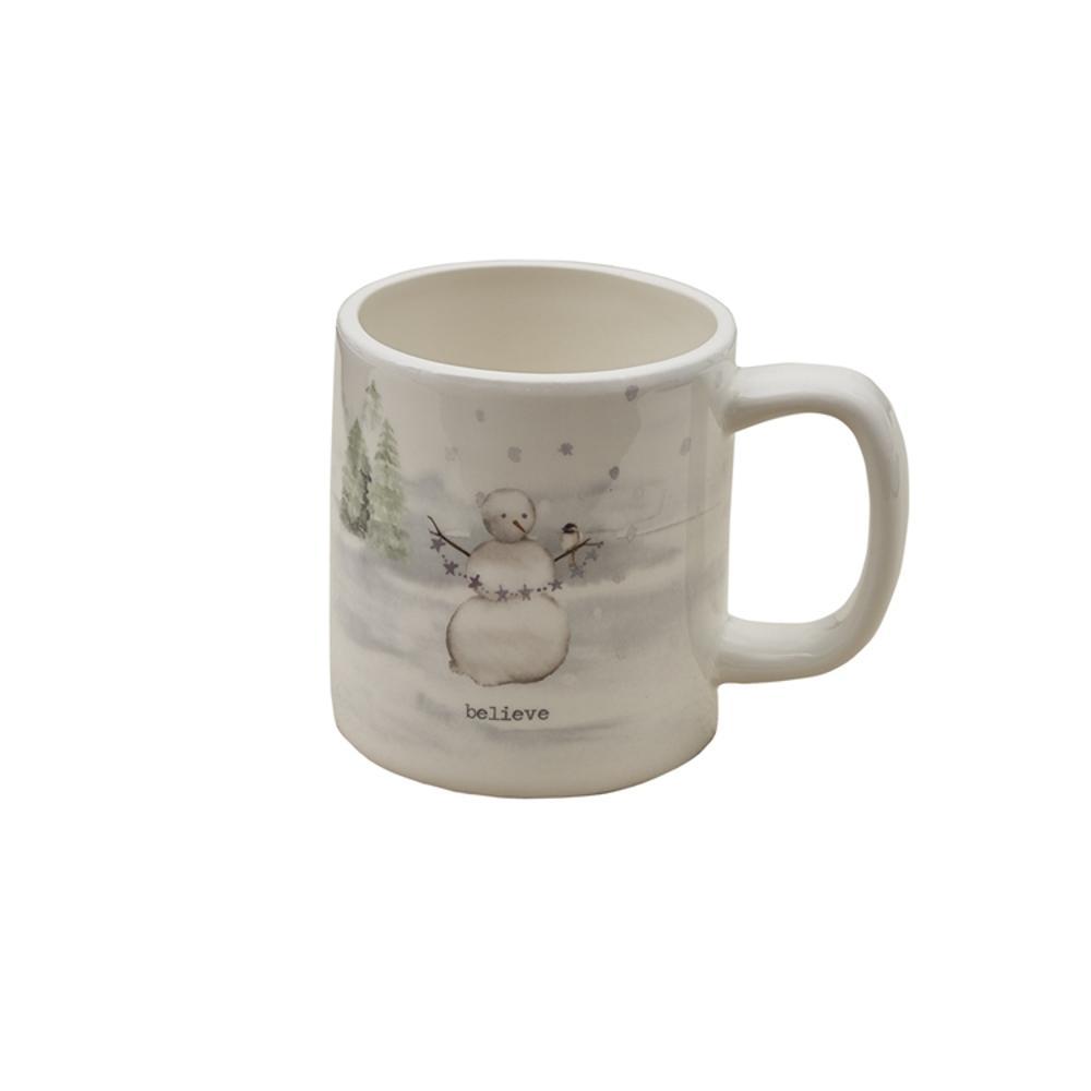 Winterland Believe 16 oz. Multicolor Ceramic Coffee Mug (Set of 4)