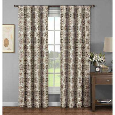 Semi-Opaque Caroline Printed Cotton Extra Wide 96 in. L Rod Pocket Curtain Panel Pair, Chocolate (Set of 2)