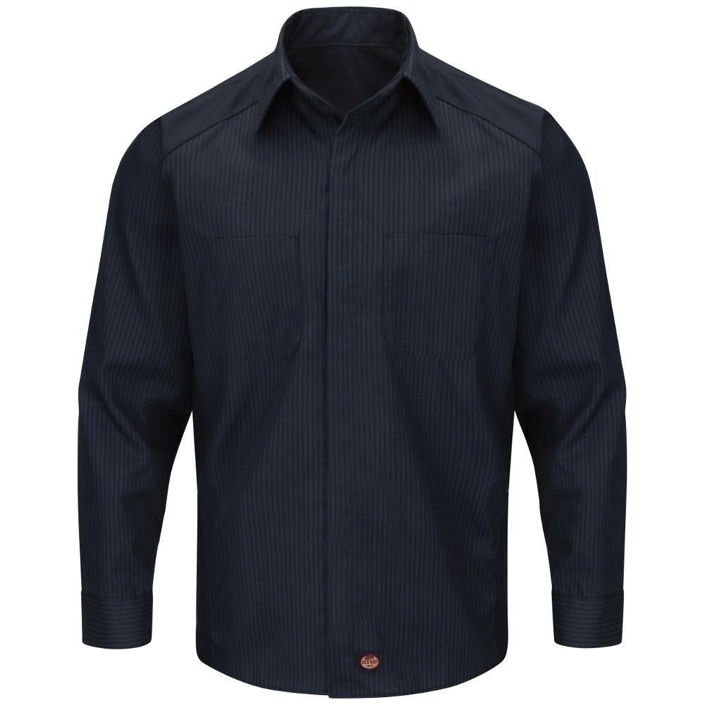 38a2d08720e78 Men s Size 3XL Navy Light Blue stripe with Navy contrast Long Sleeve Color  Block Shirt