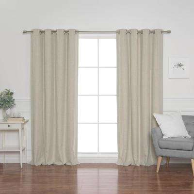 Linen Look 52 in. W x 96 in. L Grommet Curtains in Natural (2-Pack)