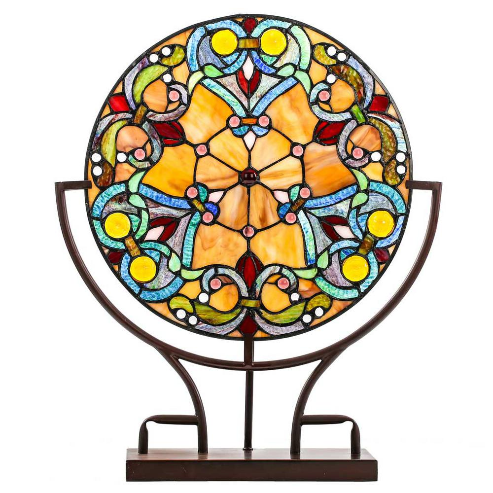 River of Goods 21.75 in. Multi-Colored Indoor Table Lamp with Webbed Hearts Tiffany Style Stained Glass Panel