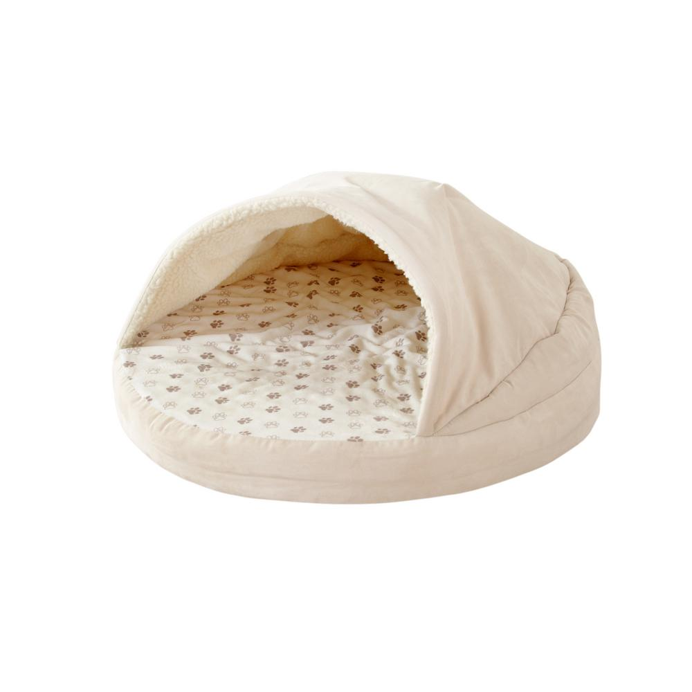 Outstanding Great Bay Home Medium Beige Round Orthopedic Cuddle Cave Pet Bed Squirreltailoven Fun Painted Chair Ideas Images Squirreltailovenorg